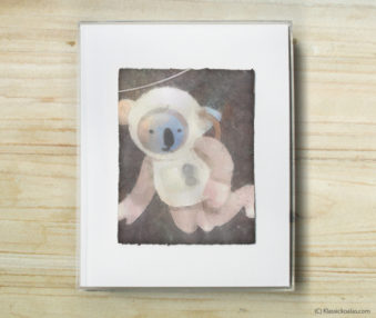Space Koalas Watercolor Pastel Painting 8-by-10 Inch Frame 52