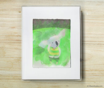 Space Koalas Watercolor Pastel Painting 8-by-10 Inch Frame 54