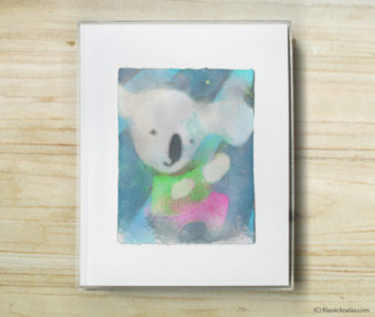Space Koalas Watercolor Pastel Painting 8-by-10 Inch Frame 55