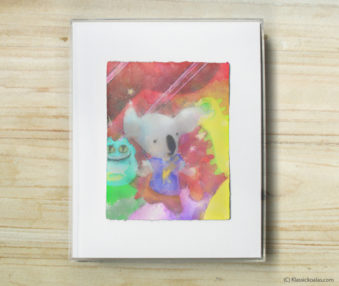 Space Koalas Watercolor Pastel Painting 8-by-10 Inch Frame 56