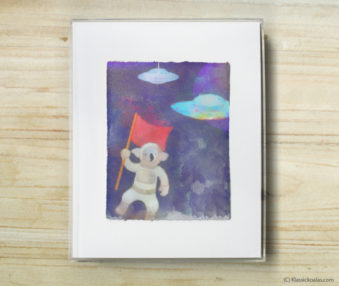 Space Koalas Watercolor Pastel Painting 8-by-10 Inch Frame 7