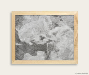 Stylized Koala Drawing Encaustic Painting 8-by-10 Inch Frame 6