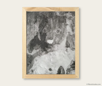 Stylized Koala Drawing Encaustic Painting 8-by-10 Inch Frame V 2