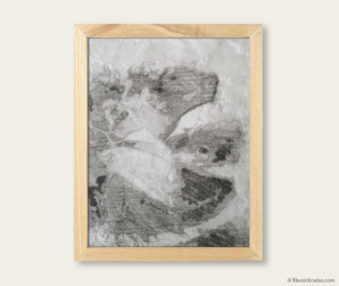 Stylized Koala Drawing Encaustic Painting 8-by-10 Inch Frame V 25